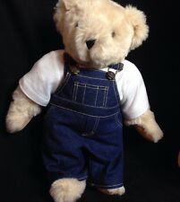 "16"" Beige Vermont Teddy Bear Jointed  Denim Overalls White T Shirt"