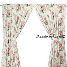 NEW IKEA EMMIE Pair of Curtains Lined 2 panels Roses Stunning Floral Tie-backs