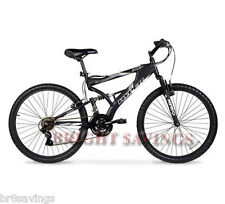 "Men's Mountain Bike Black Aluminum Frame Bicycle Shimano 26"" Full Suspension NEW"