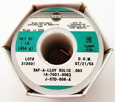 Kester Wire Solder Lead Free SAF-A-LLOY Solid .093 1 Lb Spool 14-7031-0093 - NEW