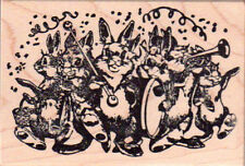 New MAGENTA RUBBER STAMP Easter XL Rabbit Bunny Marching Band Music