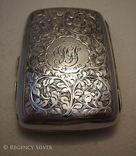Antique Solid Sterling Silver English Victorian style Cigarette Card Vesta Case