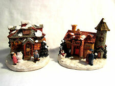 2 Resin Christmas Village Miniature Houses - Inn & Candy Shop Tallest 2 7/8''