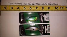 "Lot of 2 COTTON CORDELL Big O Lure 2-1/4"" Green Tiger, Smoky Joe fishing lures"