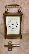 Antique French Brass Carriage Clock Porcelain Face J E Caldwell & Co Runs