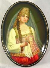 Russian Lacquer Box Fedoskino Tsars daughter MOther of Pearl GOld Hand PAinted