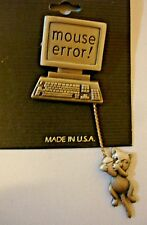 """Vintage J.J. Pewter """"Mouse Error"""" Computer Brooch Pin with Dangling Cat"""