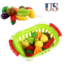 13Pcs Kids Kitchen Pretend Role Play Toys Cutting Fruits Vegetables Food Toy Set