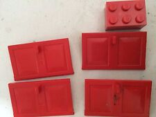 2 x RED Lego Doors *Cheapest on Ebay* FAST FREE POST
