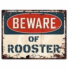 PP1356 Beware of ROOSTER Plate Rustic Chic Sign Home Room Store Decor Gift