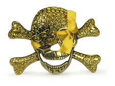 Rhinestone Skull and Crossbones Belt Buckle - Amber
