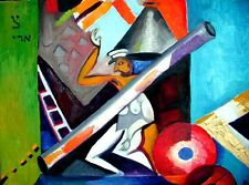 CUBIST MAN-WOMAN 2 SEX WITH LADDER Roussimoff Painting