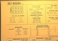 1957 Mercury 312 CI V8 SUN Electric Corp Tune Up Chart Excellent Condition!