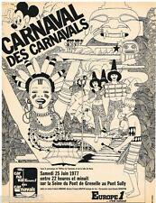 PUBLICITE ADVERTISING 095  1977  EUROPE 1 radio  CARNAVAL PONT GRENELLE MICKEY