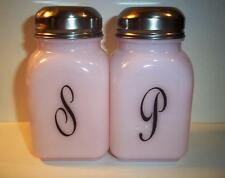 Mosser Glass Pink Milk Retro Vintage Style Monogrammed Salt & Pepper Shaker Set