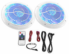 "Rockville RMC65LW 6.5"" 600w 2-Way White Marine Speakers w/Multi Color LED+Remote"