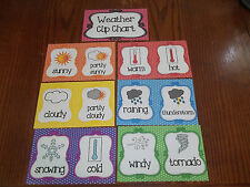 7 Weather Clip Chart Cards.  Preschool Classroom supplies and accessories.  Dayc