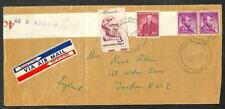 SCOTT #1058 LIBERTY COIL STAMPS LEADER STRIP USA TO ENGLAND AIRMAIL COVER 1959