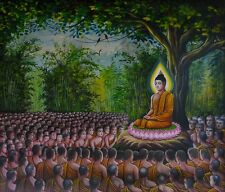 "perfect 30x30 oil painting handpainted on canvas ""Buddhist preaching""NO1721"