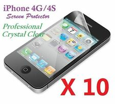 Apple iPhone 4 4S LCD Screen Protector Ultra Clear Bulk Wholesale Lot X 10
