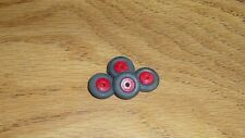 "BARCLAY /MANOIL 4 / 1/2 "" BLACK TIRES  WITH 5/16 "" RED WOOD HUB"