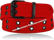 New Mens Womens Unisex Web Cotton Canvas Belt 2 Holes Black Silver Color Grommet