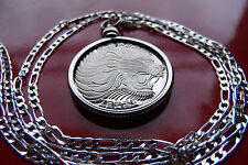 """Large Roaring African Lion Classic Pendant on a 30"""" 925 Sterling Silver Chain,"""