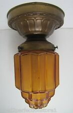 Antique Art Deco Skyscraper Lamp 1920-30s ornate frosted light shade ceiling mnt