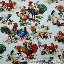 BonEful Fabric FQ Cotton Quilt White Red Brown Chicken Rooster Hen Flower S Farm