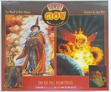 CEACO® 2 Pack 500pc SUNSET GLOW • FIRE WIZARD / FIRESTORM Jig Saw Puzzle