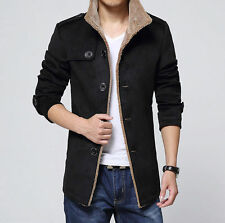 Winter Mens Wool Long Fleece Fur Jacket Trench Coat Lapel Collar Parka Outerwear