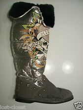 Ed Hardy Christian Audigier Silver Gray Suede Fur Love Kills Slowly Boots Size 5