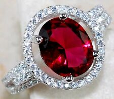 3CT Ruby & White Topaz 925 Solid Genuine Sterling Silver Ring Sz 8, T1-3