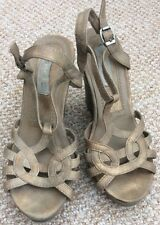 Wedge Sandals Light Brown With Gold Tinge Size 4 Uk
