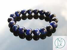 Blue Tigers Eye 10mm Natural Gemstone Bracelet Beaded 7-8'' Elasticated Healing