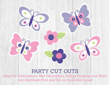 Pink & Purple Butterfly Party Cutouts Decorations Printable