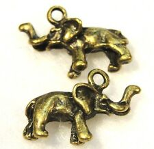 50Pcs. WHOLESALE Tibetan Antique Bronze 3D ELEPHANT Charms Pendants Drops Q0185