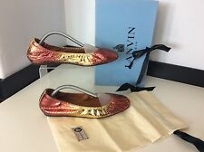 Lanvin Ballet, Ballerina Shoes Flats Uk 6 Eu39 Gold Orange Python Skin RRP £595