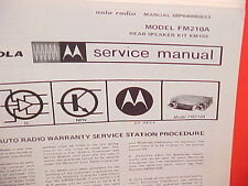 1969 MOTOROLA AUTO CAR AM-FM RADIO FACTORY SERVICE REPAIR MANUAL MODEL FM210A