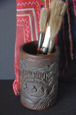 Old Chinese Bamboo Bitong / Scholar Brush Pot …beautifully hand carved