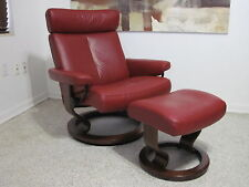 Ekornes Stressless Recliner Chair Leather Modern LARGE TAURUS Paloma Cherry