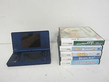 Blue Nintendo DSi (Works) & 5 Games w/ Brain Age 2, Nintendogs+++