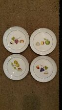 """4 CRATE & BARREL CHEESE FRUIT APPETIZER PLATES 6.5"""" UNUSED"""