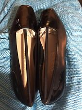 Enzo Angiolini Black Kid And Black Patent Liberty 7 N Loafers Flats