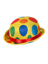 Clown Bowler Hat Mens Ladies Clowns Fancy Dress Accessory Spotted Hat Circus New