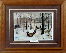 The Blizzard by Les Kouba Framed Pheasant Art Print Open Edition