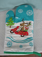 Coastal Cocktails Oven Mitt Reindeer on Golf Cart Snowflakes Blue  NWOT