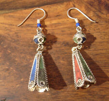 Moroccan enamel drop bell red blue green colour hand made earrings