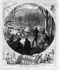 CIVIL WAR ARMY SHOOT BEEF CATTLE SOLDIERS EATING STEAK SUPPER COOK OVER CAMPFIRE