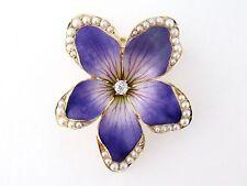 Antique Art Nouveau 14K Enamel Seed Pearl Large Violet Flower Watch Pin Pendant